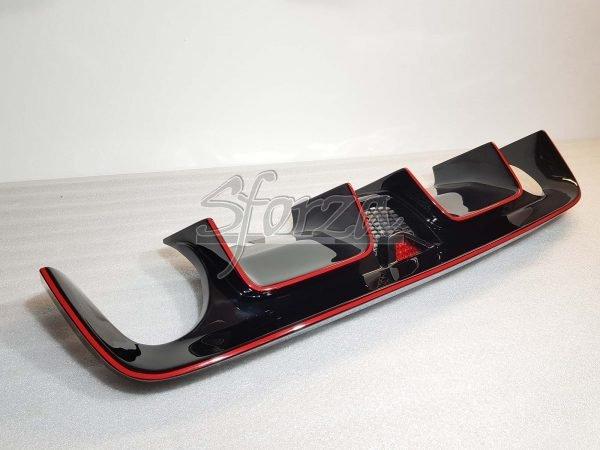 Abarth 500 estrattore posteriore 595 style vetroresina nero lucido strisce rosse