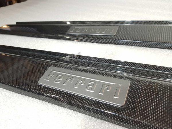 Ferrari F430 carbon kickplates sills Scuderia badge detail