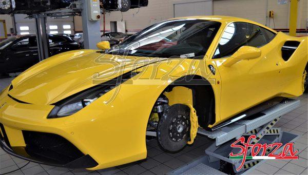 Ferrari 488 GTB carbon fiber rocker panels 488 pista yellow modena